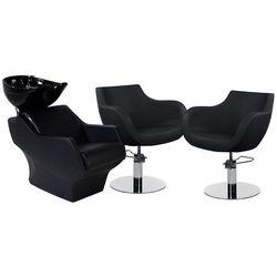 Zestaw Mebli Fryzjerskich Myjnia Techno + 2 Fotele Thomas Czarne