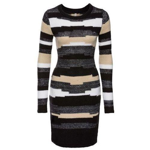 Suknie i sukienki, Sukienka dzianinowa bonprix jasnoszaro-czarny