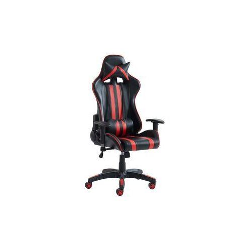 Fotele dla graczy, Fotel biurowy gamingowy XENO - Przechylane oparcie - Ekoskóra - Czarno-czerwony