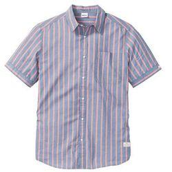 Koszula z krótkim rękawem bonprix niebieski dżins - dymny jasnoróżowy w paski