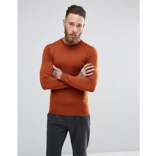 Pozostała odzież męska, ASOS Muscle Fit Merino Wool Jumper In Copper - Copper