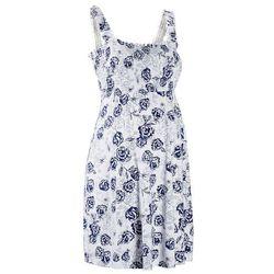 Sukienka ciążowa z dżerseju bonprix biało-kobaltowy w kwiaty