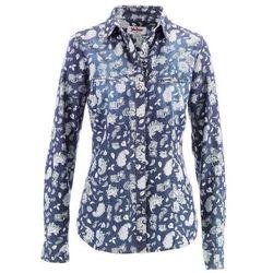 Koszula dżinsowa, długi rękaw bonprix niebiesko-biały z nadrukiem