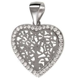 Rodowany srebrny wisiorek serce drzewo życia cyrkonia cyrkonie srebro 925 W0322