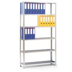 Regał na segregatory COMPACT, szary, 6 półek, 1850x1000x300 mm, podstawowy