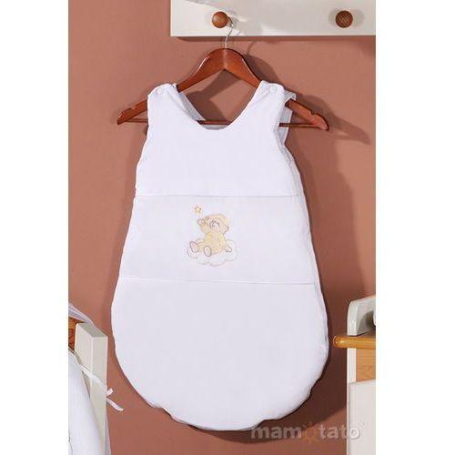 Śpiworki dla niemowląt, MAMO-TATO Śpiworek haftowany Miś na chmurce w bieli