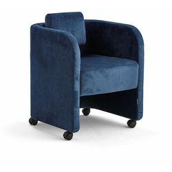 Fotel COMFY, na kółkach, welur, niebieski