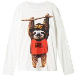 Shirt z długim rękawem i zabawnym motywem zwierzątka bonprix biel wełny z nadrukiem
