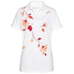Shirt polo bonprix biało-czerwony z nadrukiem