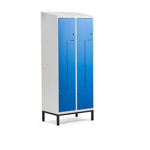 Szafki do przebieralni, Szafka ubraniowa typu Z, CLASSIC, na nóżkach, 2 moduły, 4 drzwi, 2100x800x550 mm, niebieski