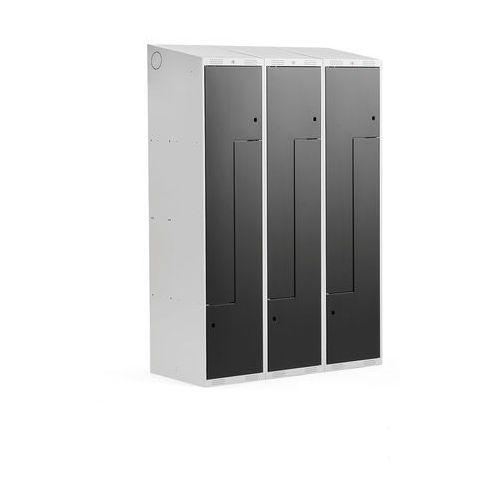 Szafki do przebieralni, Szafka ubraniowa typu Z, CLASSIC, 3 moduły, 6 drzwi, 1900x1200x550 mm, czarny