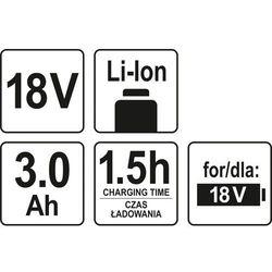 AKUMULATOR LI-ON 18 V 3 AH / YT-82843 / YATO - ZYSKAJ RABAT 30 ZŁ