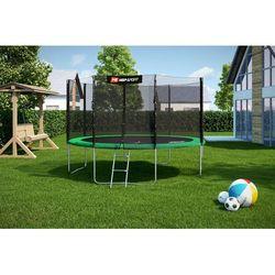 Trampolina ogrodowa 14ft (427 cm) z siatką ochronną wewnętrzną - 4 nogi - zielony \ 427 cm
