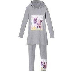 Długi shirt dziewczęcy z kapturem + legginsy (2 części) bonprix jasnoszary melanż z nadrukiem