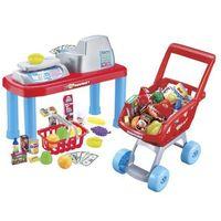 Sklepy i kasy dla dzieci, Zestaw do zabawy G21 Kasa dziecięca + wózek na zakupy z akcesoriami