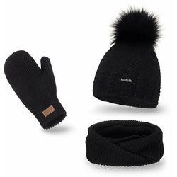 Komplet PaMaMi, czapka, komin i rękawiczki - Czarny