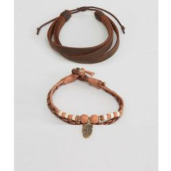 ASOS Leather Bracelet Pack In Tan With Feather Charm - Tan