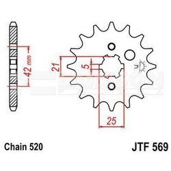 Zębatka przednia JT F569-14, 14Z, rozmiar 520 2200846 Yamaha YFM 350, DT 400