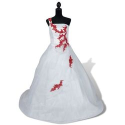 vidaXL Elegancka biała suknia ślubna, model A, rozmiar 38, czerwone zdobienia