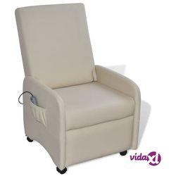 vidaXL Fotel masujący z eko-skóry, elektryczny, regulowany, kremowy Darmowa wysyłka i zwroty