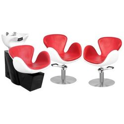 Zestaw Mebli Fryzjerskich - Myjnia Amsterdam + 2 Fotele Amsterdam Czerwono-Białe