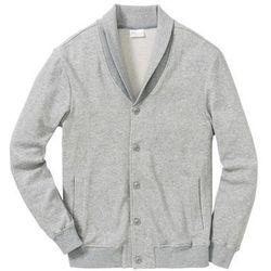 Bluza bejsbolówka dresowa ze strukturalnego materiału Regular Fit bonprix jasnoszary melanż