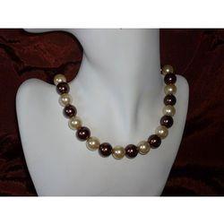 N-00013 Naszyjnik z perełek szklanych, kremowych i brązowych promocja!