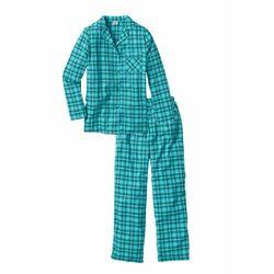 Piżama flanelowa bonprix niebieskozielony w kratę
