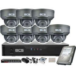 Monitoring wideo audio kasy stacji paliw sklepu BCS Point Rejestrator IP + 7x Kamera BCS-P-212RWSA-G + Akcesoria