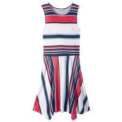 Sukienka z dłuższymi bokami bonprix czerwono-biało-ciemnoniebieski z nadrukiem