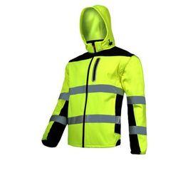 """LAHTI PRO L4091903 Kurtka SOFT-SHELL ostrzegawcza z odpinanymi rękawami, żółta, """"L"""", CE"""