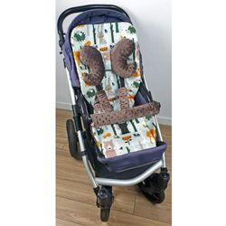 Wkładka do wózka, ochraniacze na pasy i pałąk + motylek liski