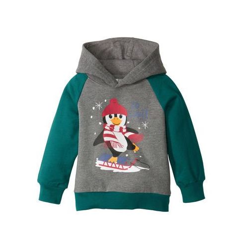 Bluzy dla dzieci, Bożonarodzeniowa bluza z kapturem bonprix szary melanż- głęboki zielony z nadrukiem