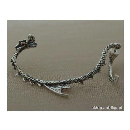 Klipsy i nausznice, Nausznica smok - dragon srebrny kolczyk