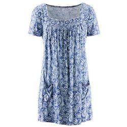 Tunika shirtowa, krótki rękaw bonprix indygo-biały wzorzysty