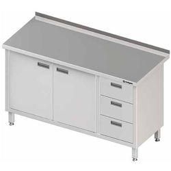 Stół przyścienny z blokiem trzech szuflad po prawej stronie i szafką z drzwiami skrzydłowymi 1600x700x850 mm | STALGAST, 980457160