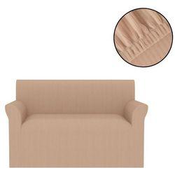 Elastyczny pokrowiec na sofę, prążkowany, beżowy