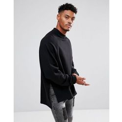 ASOS Super Longline Oversized Sweatshirt with Side Splits and Dropped Hem - Black