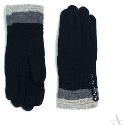 Dzianinowe rękawiczki damskie z guziczkami czarne - czarny ||szary