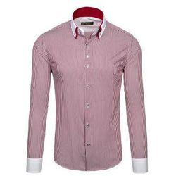 Bordowa koszula męska maklerka z długim rękawem Bolf 0909