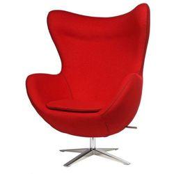 Fotel Jajo szeroki wełna czerwona JA-2712 z przeszyciem