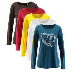 Długi shirt z okrągłym dekoltem (5 szt.), długi rękaw bonprix niebieskozielony z nadrukiem + ciemnobrązowy +biały + ciemnoczerwony + żółty narcyz