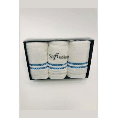 Pozostałe pościele i nakrycia, Zestaw podarunkowy małych ręczników CHAINE, 3 szt Biały / różowy haft