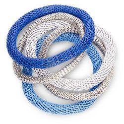 Komplet bransoletek (5 części) bonprix niebiesko-srebrno-biały