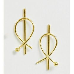 ASOS DESIGN sterling silver with gold plate earrings in circle wire design - Gold