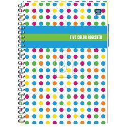 Kołozeszyt B5/160 kartek w kratkę 5 five color register