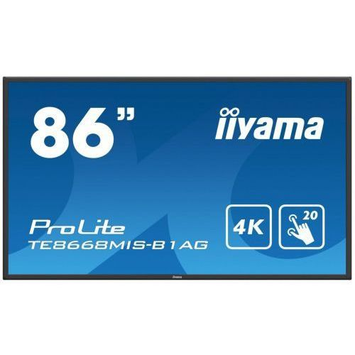 "Tablice interaktywne, IIYAMA 86'"" TE8668MIS-B1AG, INFRARED, 4K, 24/7, USB, NOTE, HDMI, DP"
