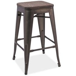 Hoker stołek barowy SIGNAL LONG ciemny orzech /grafit LOFT