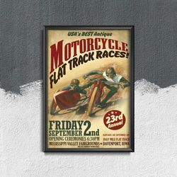 Plakat vintage do salonu Plakat vintage do salonu Wyścigi motocyklowe Flat Track