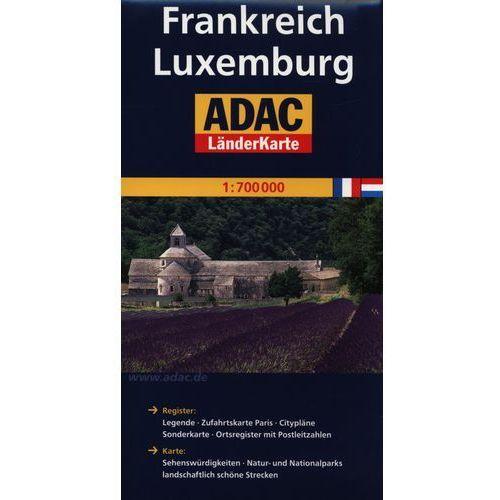 Mapy i atlasy turystyczne, ADAC Frankreich Luxemburg mapa drogowa 1:700 000 (opr. broszurowa)
